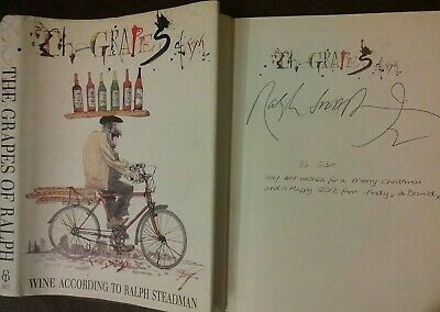 SIGNED 1992 Ralph Steadman - THE GRAPES OF RALPH Wine Hardcover Book Fear Hunter