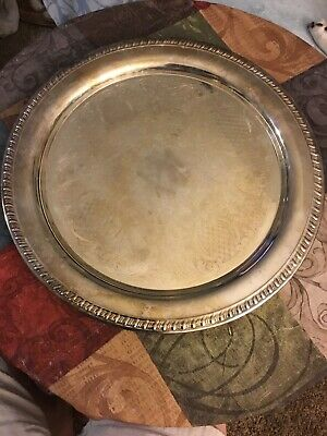 """Vintage Leonard Silverplate Round 12"""" Tray Platter Pineapple Floral #598 Italy"""