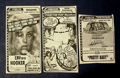 3 R-Rated 1979-80 Newspaper Ads / Up In Smoke / Cry Of A Hooker / Pretty Baby