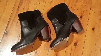 GORMAN blk leather/suede ankle boots, solid heel Sz40