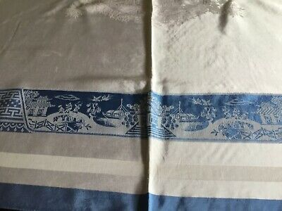 Vintage Rayon Damask Tablecloth
