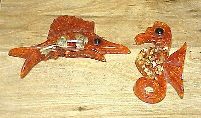 Vintage 2 Piece Resin Abalone Shell Seahorse & Swordfish Lucite Acrylic Wall Art