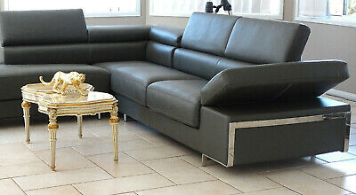 Leather  Corner Sofa Lounge Bed Chiase Made in Italy