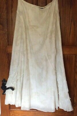 M&S Per Una UK14R Maxi Twist & Knot Cotton Hippy/Boho Cream Skirt Exc. Cond.