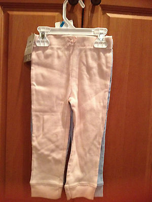 NWT Carter's Girls'  2-Pair Pants Knit bottoms Lt Blue & Lt Pink Ribbed  24 Mths