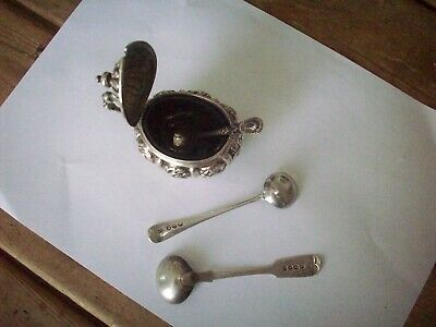 Antique Silver Mustard Pot And 2 Mustard Spoons, Georgian And Victorian