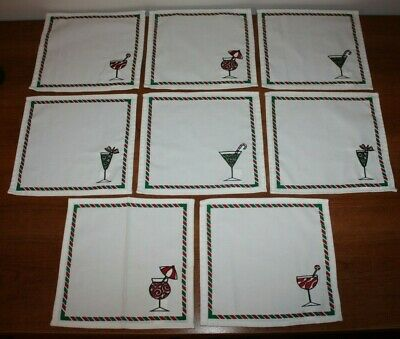 Lot of 8 Eight Cloth Napkins Dinner Set White Red Green Martini Drinks NEW !!!