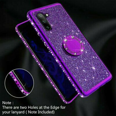 For Samsung Galaxy Note 10 Plus Plated Bling Glitter Ring Holder Back Case Cover