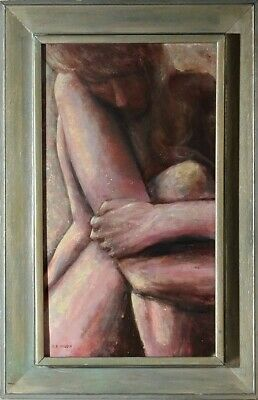 Amazing ca.1964 Expressionist Nude Lady Oil Painting on Canvas w/Frame Signed