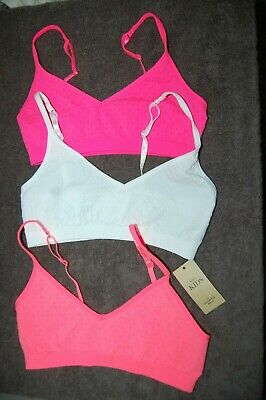 M&S 3 Seamfree Bras/Crop Tops Pull On Pink, White and Coral Age 12-14 Years BNWT