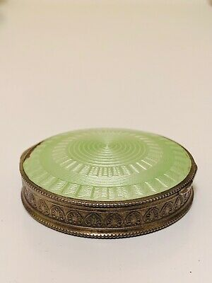 Antique Austrian Sterling Silver Enamel Guilloche Compact Collectible Vanity