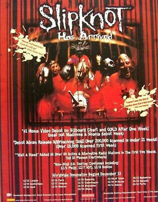 SLIPKNOT 1999 PROMO ADVERT DEBUT ALBUM roadrunner records CONCERT TOUR