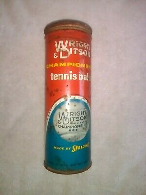 Vintage Wright & Ditson AG Spalding Co Tennis Ball Can 3 Balls Advertising Nice!