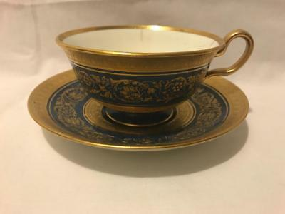 Spode Copeland Footed Cup and Saucer Dark Teal Glaze w Heavy Gilt Beading Floral