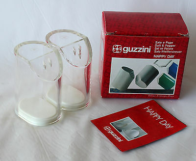 Vintage GUZZINI ITALY Salt & Pepper Shakers Set RETRO Lucite Plastic As New