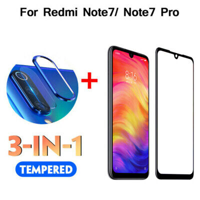 3in1 For Xiaomi Redmi Note 7 Camera Lens Case Metal Ring Cover +Screen Protector
