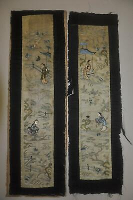 Pair of Antique Chinese Qing Dynasty Silk Embroidered Sleeve Bands - 1