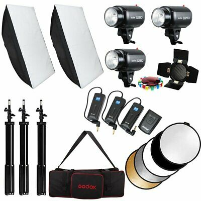 3Pcs Godox E250 3x250W Photo Video Studio Strobe Flash Light Trigger Softbox Kit