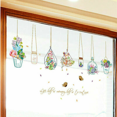 Flowers Potted Plant Wall Stickers Removable Window Decoration Decals Sticker US