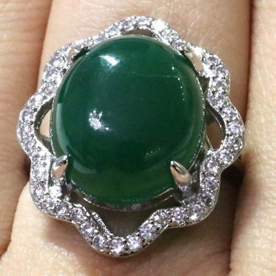 Gorgeous Oval Green Emerald Ring Women Wedding Engagement Birthday Jewelry Gift