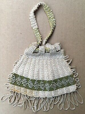 Antique Vintage White Green Crochet Bead Beaded Fringe Drawstring Purse Handbag