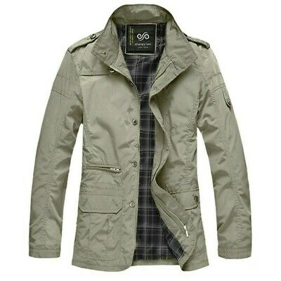 Mens Coat Shirt Jacket Oversize Loose Casual Retro Outwear Stand Collar Khaki