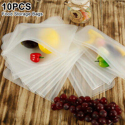 10PCS Reusable Silicone Food Fresh Bag Seal Storage Container Freezer Ziplock