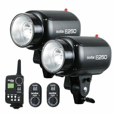 2Pcs Godox E250 250W Photography Studio Strobe Flash Light + Trigger Kit