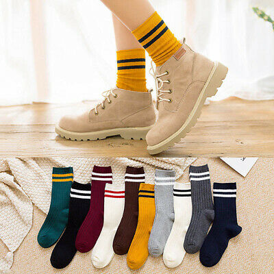 Girls Colorful Funny Cotton Striped Loose Japanese Crew Cute School High Socks