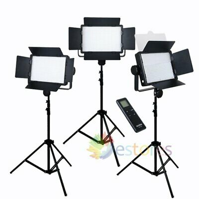 3x GODOX LED500C Changeable Version LED Studio Video Photo Light +Remote + Stand