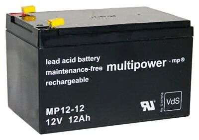 Multipower 12V 12Ah Batería de Plomo MP12-12 - Ups 4,8mm Faston APC Rbc