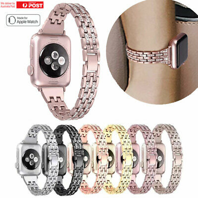 For Apple Watch Series 5 4 3 2 Bling Stainless Steel Bracelet iWatch Band Strap