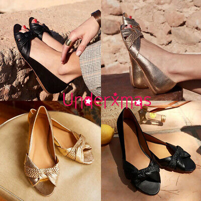 Womens Peep Toe Flat Slip On Sandals Ladies Summer Casual Loafers Pumps Shoes Uk