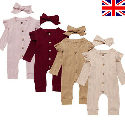 UK Newborn Baby Girl Boy Clothes Kids Knitted Romper Jumpsuit Outfits Set Autumn