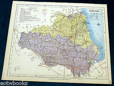 DURHAM - Original Antique County Map - LETTS - 1884 , cloth mounted, for framing