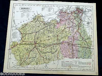 SURREY - Original Antique County Map  - LETTS - 1884, cloth mounted.
