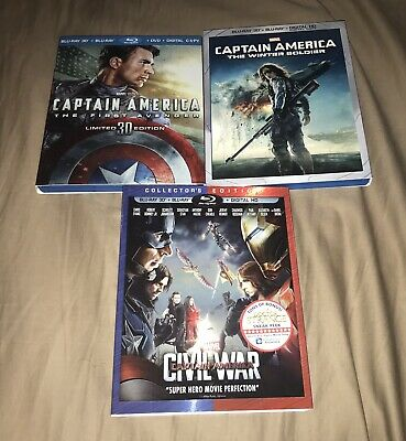 Captain America 3D Blu-ray Trilogy Lot w/ Rare Slipcovers - No Digital