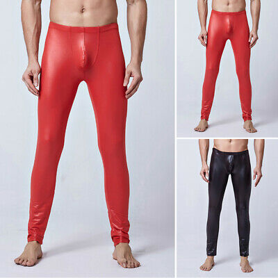 Sexy Men's Faxu Leather Skinny Pants Moto Biker Tight Clubwear Leggings Trousers