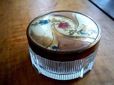 Art Deco glass vanity box jar metal CELLULOID lid- pink Floral and Paisley (?)