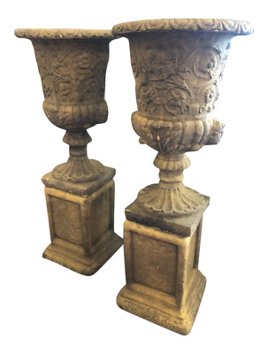 Antique Style Reproduction Pair of Urns on Pedestals Made in England