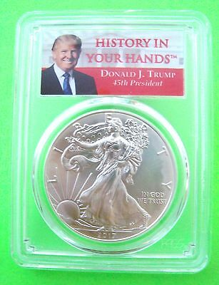 DONALD TRUMP 2017 AMERICAN SILVER EAGLE PCGS MS69 FIRST STRIKE 1oz Coin MINT