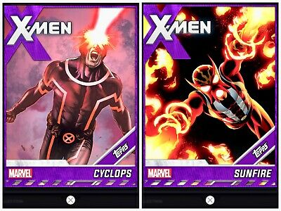 Topps MARVEL COLLECT DIGITAL Card FUSION TIER 6 PURPLE BASE CYCLOPS SUNFIRE XMEN
