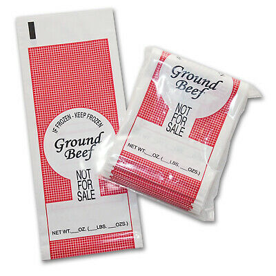 100 COUNT GROUND PORK MEAT FREEZER CHUB RETAIL BAGS 1LB FREE SHIPPING SIB SUPPLY