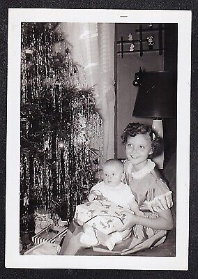 Antique Vintage Photograph Little Girl Holding Baby By Christmas Tree