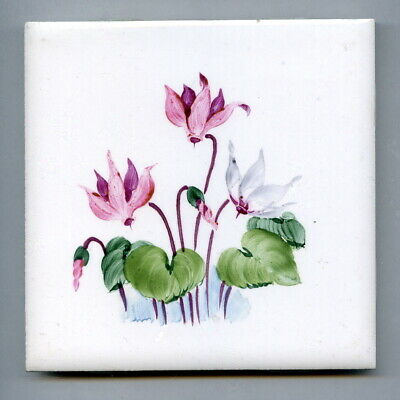 "Handpainted 4.25""sq tile from the ""Spring Flowers"" series by Packard & Ord, 1969"
