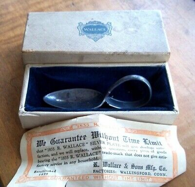 ANTIQUE VINTAGE  1835 R.WALLACE  SILVER PLATED curved handle BABY SPOON W/ BOX
