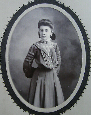 Cabinet Photo Of A Lovely Young Gibson Girl Wearing A Pretty Dress Reading Pa