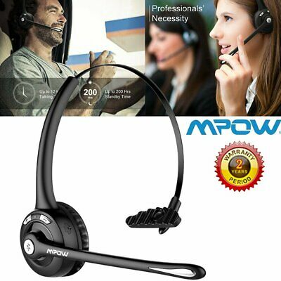 Mpow Bluetooth Wireless Headset Handsfree Mic Noise Cancelling For Truck Driver