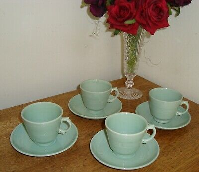 1940's Vintage BERYL Woods Ware Demitasse Espresso 4 Small Coffee Cups & Saucers