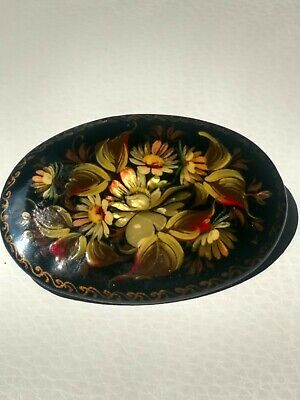 Hand Painted Floral Wooden Black Lacquer Brooch, Poccus Russia, Artist Signed